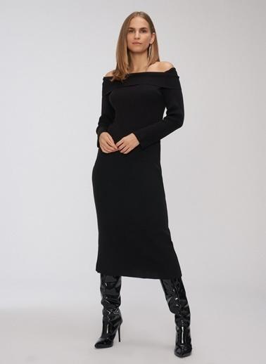 People By Fabrika Carmen Yaka Triko Elbise Siyah
